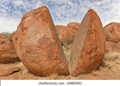 Broken boulder in the Devils Marbles area, Northern Teritory, Australia