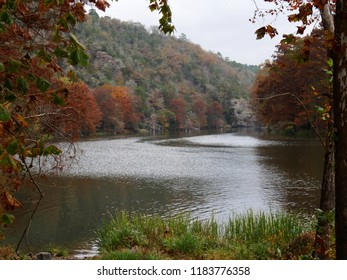 BROKEN BOW, OKLAHOMA—OCTOBER 2017: Beautiful colors of autumn at the Mountain Fork River at Beavers Bend State Park in Broken Bow, southeastern part Oklahoma.