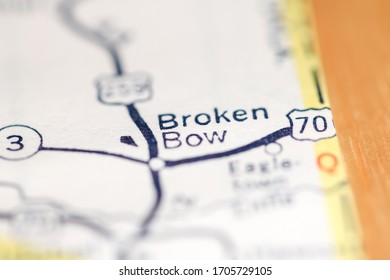 Broken Bow. Oklahoma. USA on a geography map.