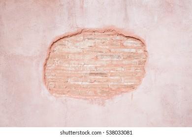 Broken brick wall exterior