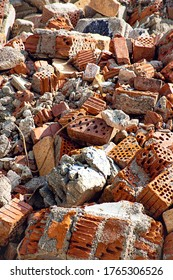Broken bricks after a house demolition.