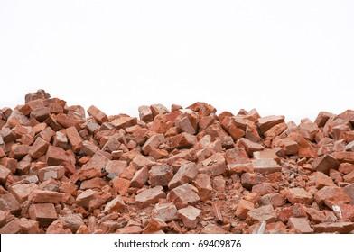 broken bricks in white background