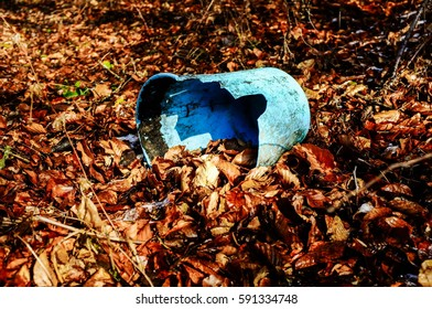 broken bucket, dry leaves