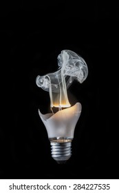 the broken bulb with a smoke from a thread
