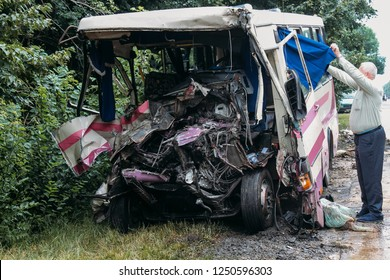 Broken bus after the accident