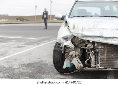 broken car after the accident in  foreground