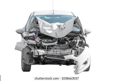 broken car after an accident is isolated on a white background