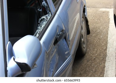 The broken car due to the accident