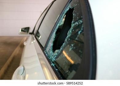 Broken Car Glass Window from Theft
