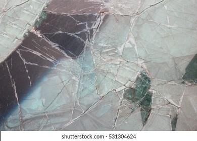 Broken car glass, windshield