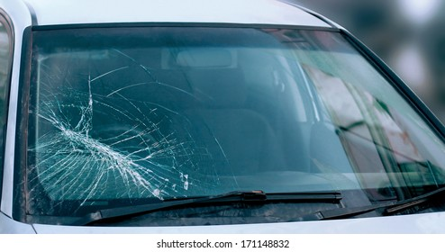 Broken car windshield. Accident of car. Selective focus