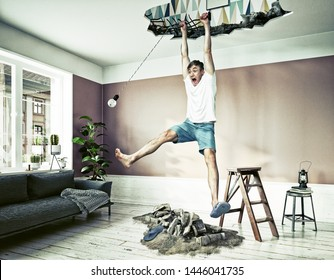 broken ceiling and a man hanging in the hole. Photo & media elements combination