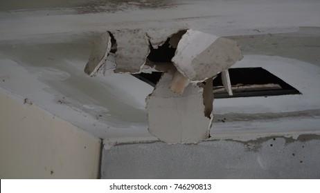broken ceiling from raining storm