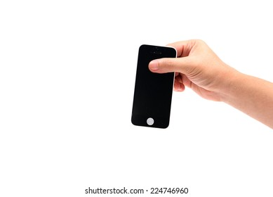 Broken cell phone in hand  isolated on white
