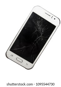 Broken cell phone isolated on white