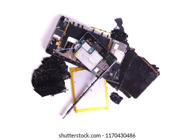 Broken cellphone in pieces