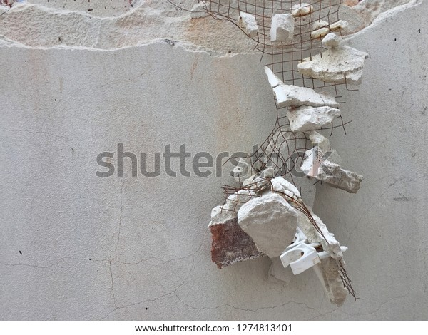 Broken Cement Rusted Wire Mesh Hanging Stock Photo Edit Now