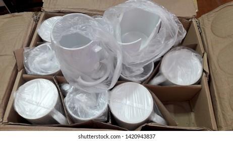 Broken ceramic glass which damaged by logistics