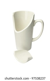 Broken Ceramic Mug on White Background