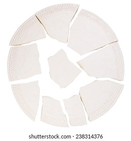 Broken ceramic plate isolated on white background