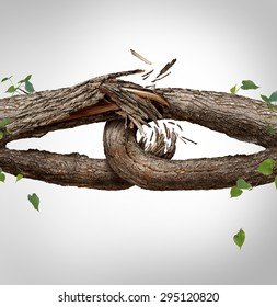 Broken chain concept and disconnected symbol as two different tree trunks tied and linked together as weak fragile,links breaking and losing trust or faith metaphor as separation and divorce.