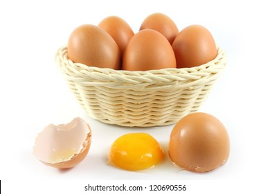 broken chicken eggs and eggs in the basket