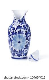 Broken Chinese Ceramic Vase On White Background