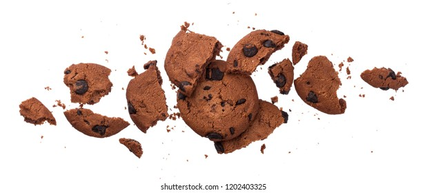 Broken chocolate chip cookies isolated on white background with clipping path. Collection
