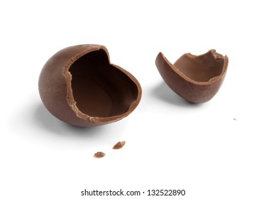 Broken chocolate egg, isolated on white