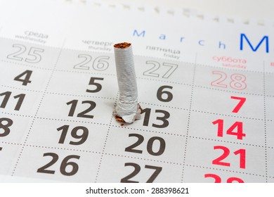 Broken cigarette butt. It's time to stop smoking