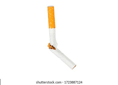 Broken cigarette fly in air on isolated background. Conception of combating smoking.
