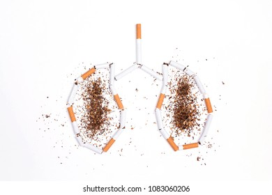 Broken cigarettes and tobacco in the form of lungs on white background. No smoking concept.  Flat lay, top view.