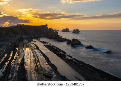 Broken coast (Costa Quebrada) at Liencres, Cantabria, Spain