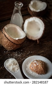 the broken coconut. delicious fruit for Indian food