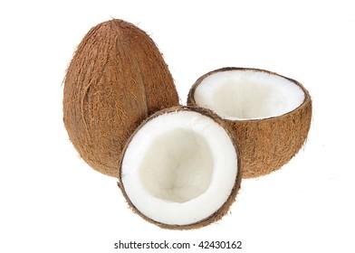 Broken coconut on white background