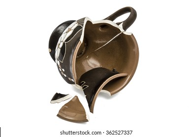 Broken coffee cup, isolated on white background, with clipping path