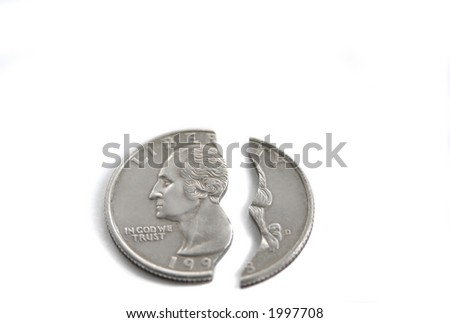 broken coin isolated over white background