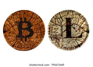 Broken coins bitcoin and litecoin on a white background. Broken bitcoin. Old litecoin.