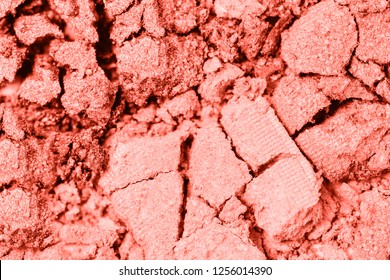 A broken colored in color of year 2019 Living Coral eye shadow make up palette. flat lay. Copy space for your text. Creative fashion and beauty living coral concept. 16-1546