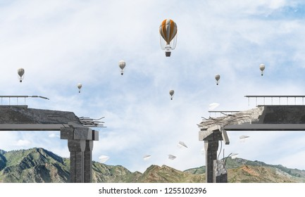 Broken concrete bridge with flying balloons among high mountains and cloudly skyscape on background. 3D rendering.