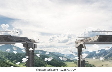 Broken concrete bridge with flying paper planes among high mountains and cloudly skyscape on background. 3D rendering.