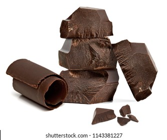 Broken or cracked chocolate blocks stack with chocolate curls isolated on white background