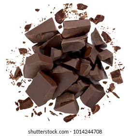 Broken or cracked chocolate pile from top isolated on white background