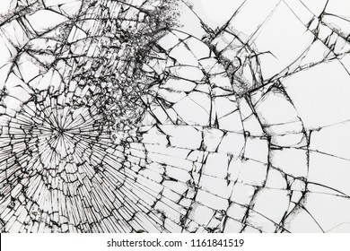 Broken / cracked glass on white background