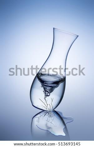Broken Cracked Glass Vase Water Flows Stock Photo Edit Now