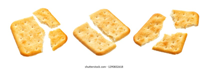 Broken cracker isolated on white background. Crushed dry cracker cookies isolated with clipping path