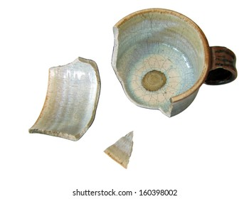 Broken cup, isolated