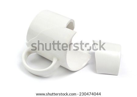 broken cup on white