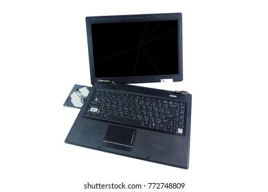 broken or damage laptop isolated on white background