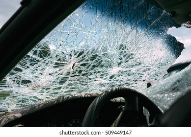 the broken and damaged car